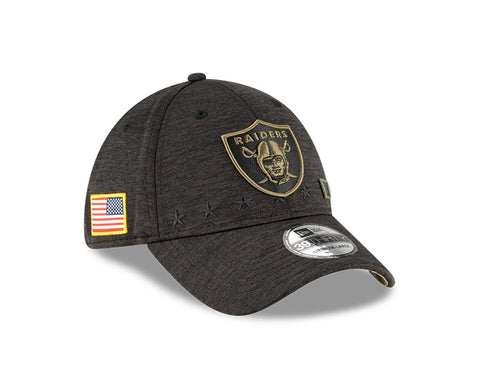 Men's Las Vegas Raiders New Era Heather Black 2020 Salute to Service 39THIRTY Flex Hat