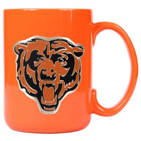 Chicago Bears 15 oz. Orange Ceramic Metal Bear Head Logo Emblem Mug