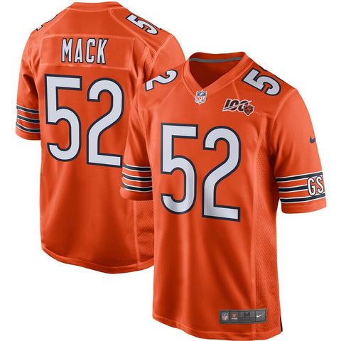 Men's Chicago Bears Khalil Mack Nike Orange 100th Season Game Jersey