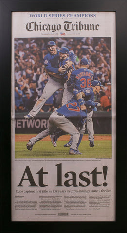 Framed Chicago Tribune Cubs World Series 2016 Newspaper