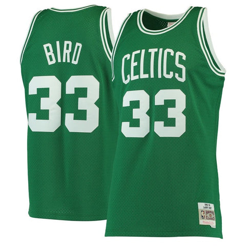 Men's Boston Celtics Larry Bird Mitchell & Ness Kelly Green 1985-86 Hardwood Classics Swingman Jersey