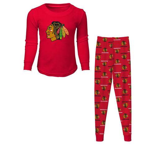 Child OuterStuff NHL Kids Chicago Blackhawks Red Long Sleeve Tee and Pant Sleep Set