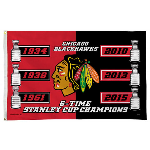 Chicago Blackhawks 6 Time Stanley Cup 6 Time Champs 3x5 Flag