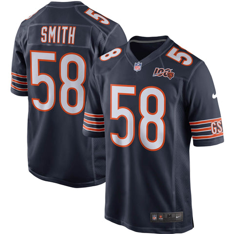 Men's Chicago Bears Roquan Smith Nike Navy 100th Season Game Jersey