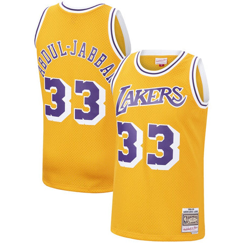 Men's Los Angeles Lakers Kareem Abdul-Jabbar Mitchell & Ness Gold 1984-85 Hardwood Classics Swingman Jersey