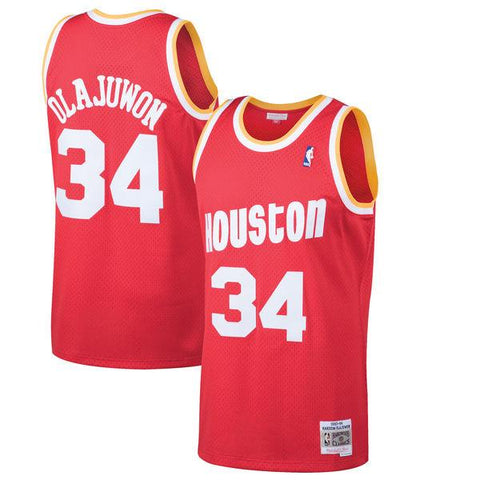 Men's Houston Rockets Hakeem Olajuwon Mitchell & Ness Red 1993-94 Hardwood Classics Swingman Jersey