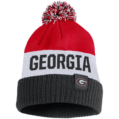 Men's Nike Red Georgia Bulldogs Team Name Cuffed Knit Hat with Pom