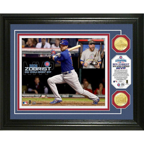 Chicago Cubs 2016 World Series Champs Bronze Coin Zobrist MVP Framed Photo Mint