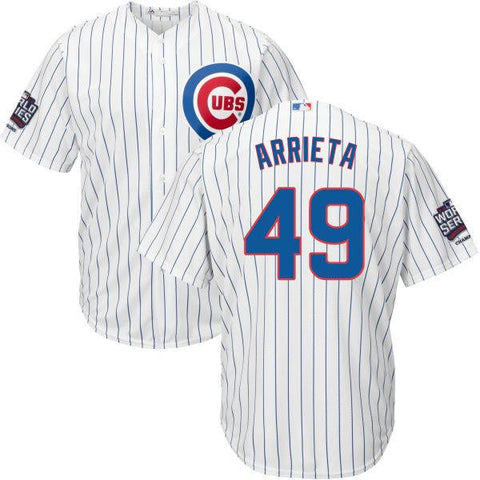 e04c52626 Chicago Cubs Jake Arrieta Home Replica Cool Base Jersey with World Ser