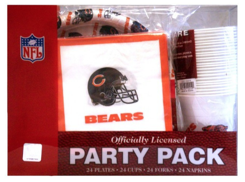 Chicago Bears Plates, Cups, Forks & Napkins Party Pack