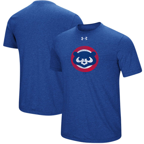 Men's Chicago Cubs Under Armour Heathered Royal Cooperstown Collection Mark Tri-Blend T-Shirt
