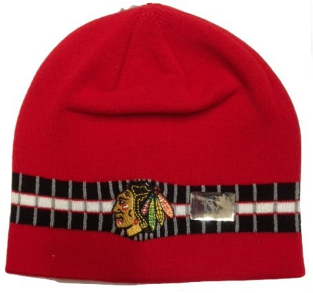 Men's Chicago Blackhawks Old Time Hockey Black/Red Ace Knit Beanie