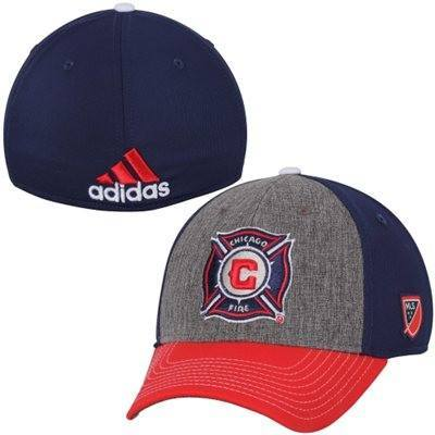 Men's Chicago Fire SC adidas Gray Authentic Team Structured Flex Hat - Pro Jersey Sports - 1