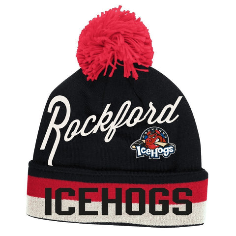 Mens Rockford IceHogs CCM Cuff Pom knit Hat - Pro Jersey Sports