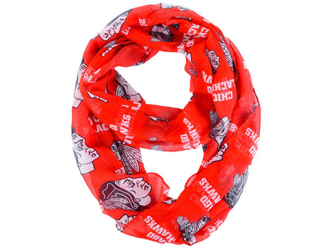 Chicago Blackhawks All Over Logo Infinity Wrap Scarf - Pro Jersey Sports