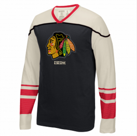Chicago Blackhawks CCM Retro Long Sleeve Applique Crew