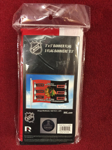 Chicago Blackhawks 6 Time Champions 3X5 Flag