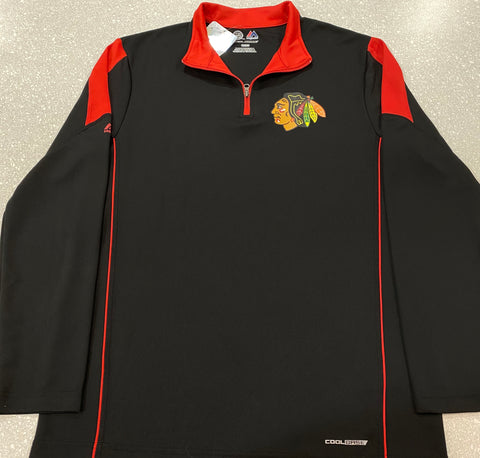 "Men's Chicago Blackhawks Cool Base ""Shoulder"" Half-Zip Pullover"