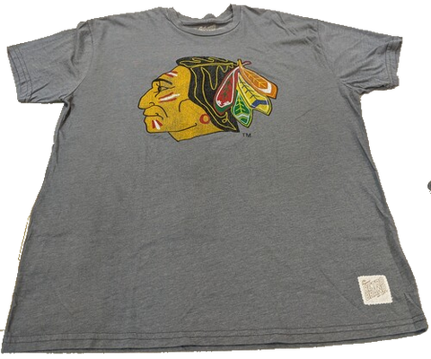 Men's Chicago Blackhawks Gray 1961 Logo Retro Brand Tee