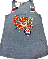 Women's Chicago Cubs  Tri-Blend Scoop Neck Racerback Tank with Stripes