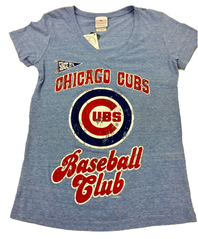 Women's Chicago Cubs Lil Penant Arch Fade Logo Baseball Club Tee