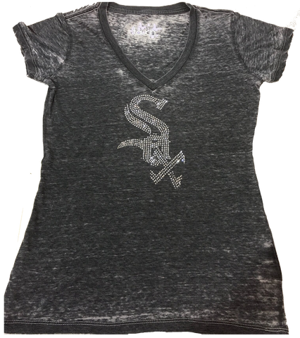 Women's Chicago White Sox Gray Burnout V Neck Bling Tee