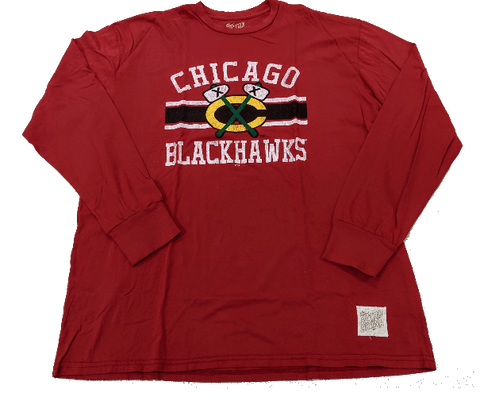 Men's Chicago Blackhawks Red Secondary Logo Bar Stripe Long Sleeve Tee