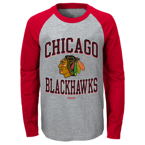 Toddler Chicago Blackhawks Long Sleeve Raglan Tee By Reebok
