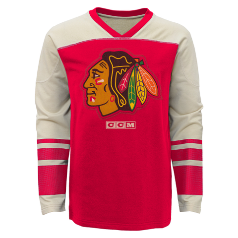 Youth Chicago Blackhawks Long Sleeve Vintage Crew By CCM - Pro Jersey Sports