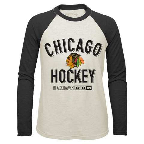 Chicago Blackhawks CCM Vintage Long Sleeve Crew Neck Tee - Pro Jersey Sports