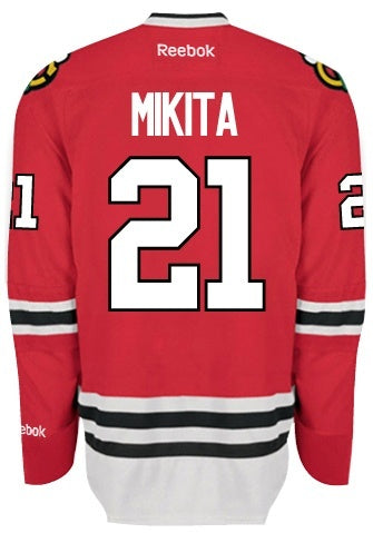 Chicago Blackhawks Mens Stan Mikita Premier Home Jersey with AUTHENTIC TACKLE-TWILL LETTERING - Pro Jersey Sports - 1
