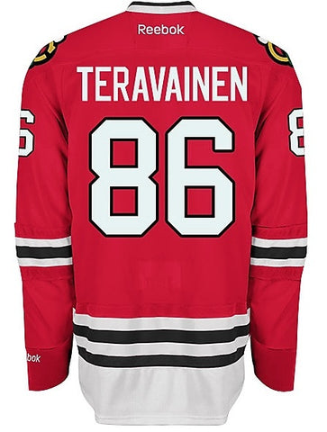 Chicago Blackhawks YOUTH Teuvo Teravainen Premier Home Jersey with AUTHENTIC TACKLE-TWILL LETTERING