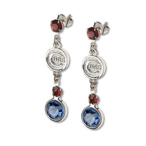 Chicago Cubs Crystal Logo Earrings by LogoArt® - Pro Jersey Sports