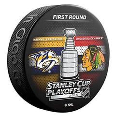 2015 NHL Stanley Cup Playoffs Nashville Predators vs. Chicago Blackhawks Souvenir Dueling Hockey Puck - Pro Jersey Sports - 1