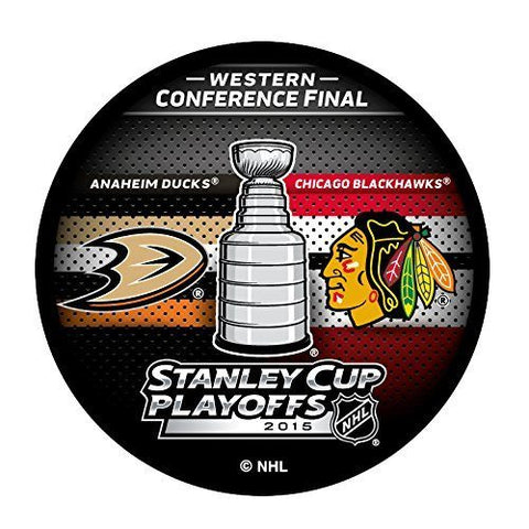 2015 NHL Stanley Cup Playoffs Western Conference Final Anaheim Ducks vs. Chicago Blackhawks Dueling Hockey Puck - Pro Jersey Sports - 1