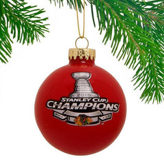 CHICAGO BLACKHAWKS 2015 STANLEY CUP CHAMPIONS GLASS BALL ORNAMENT - Pro Jersey Sports