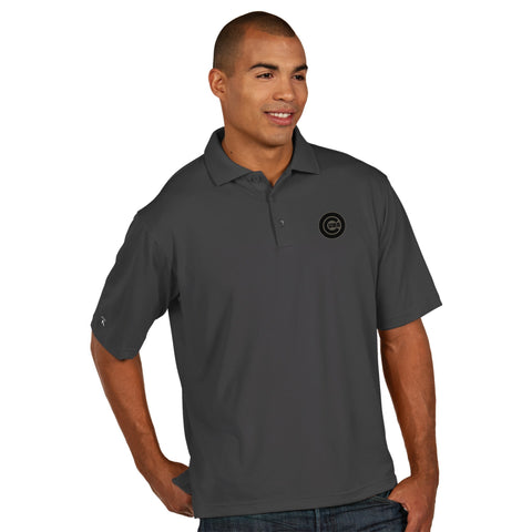 Chicago Cubs Pique Polyester Performance Polo Antigua Mens Tonal Grey - Pro Jersey Sports
