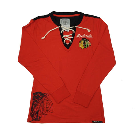 Chicago Blackhawks Womens Rachel L/S Jersey Tee-Red