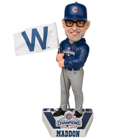 Chicago Cubs Joe Maddon 2016 World Series Champions Fly the W Flag Bobblehead