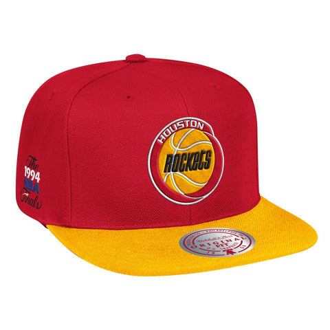 Houston Rockets 1994 NBA Finals Side Patch 2 Tone Red/ Yellow Mitchell & Ness Snapback Hat