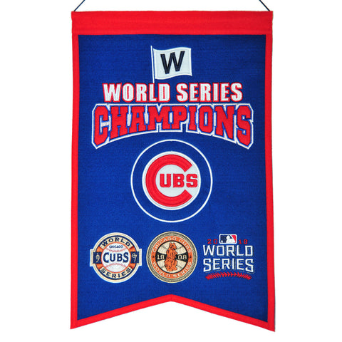 CHICAGO CUBS 2016 WORLD SERIES CHAMPIONS BANNER BY WINNING STREAK