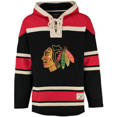 Men's Chicago Blackhawks Old Time Hockey Black Lacer Heavyweight Pullover Hoodie