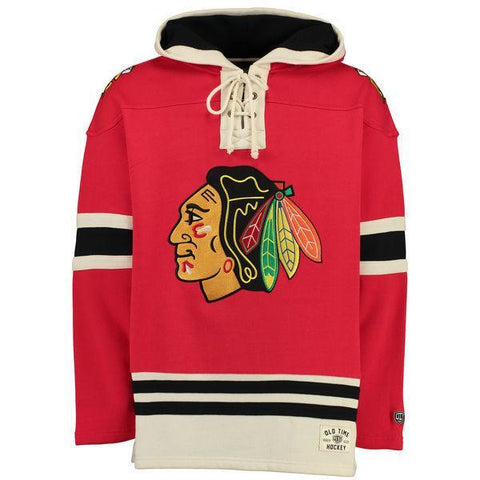 Men's Chicago Blackhawks Old Time Hockey Red Lacer Heavyweight Pullover Hoodie - Pro Jersey Sports