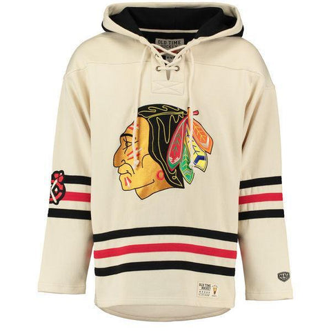Men's Chicago Blackhawks Old Time Hockey Vintage Lacer Heavyweight Pullover Hoodie