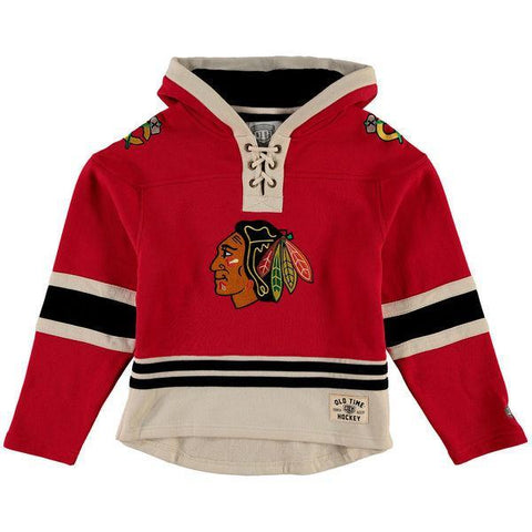 Youth Chicago Blackhawks Old Time Hockey Red Current Lacer Heavyweight Hoodie - Pro Jersey Sports