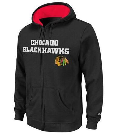 Youth Chicago Blackhawks Reebok Sportsman Full-Zip Hoodie-Black - Pro Jersey Sports