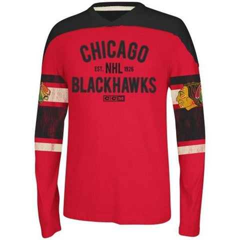 Blackhawks Red Applique Long Sleeve Crew Sweatshirt - Pro Jersey Sports