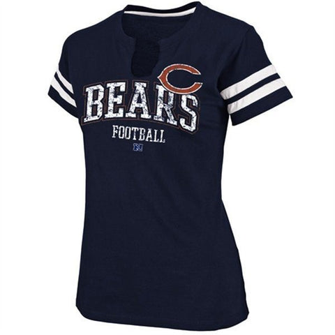 Chicago Bears Ladies Go For Two Split Neck T-Shirt - Navy Blue - Pro Jersey Sports - 1