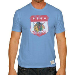 Chicago Blackhawks Chicago Flag Colors Tri-Blend Tee by Retro Brand - Pro Jersey Sports