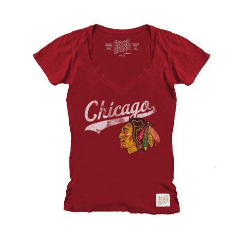 Chicago Blackhawks Ladies Tailsweep V-Neck Tee - Pro Jersey Sports